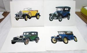 Vintage Chevrolet Color Prints 1932 Roadster 1928 Coach 1915 Baby Grand 1912 Six