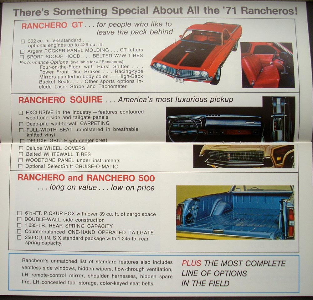 Custom Ford Explorer >> 1971 Ford Ranchero 500 GT Explorer F-100 F-250 Sport Custom Sales Brochure