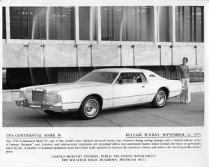1976 Lincoln Continental Mark IV Press Photo 0048