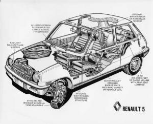 1976 Renault 5 LeCar Illustrative Cutaway Press Photo 0011