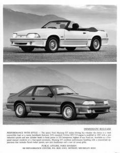 1987 Ford Mustang GT and Convertible Press Photo 0107