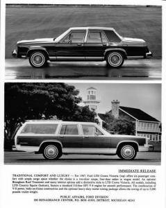 1987 Ford LTD Crown Victoria & LTD Country Squire Station Wagon Press Photo 0109