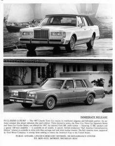 1987 Lincoln Town Car Press Photo 0051
