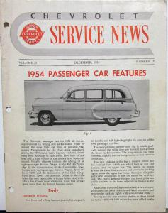 1954 Chevrolet Service News Passenger Car Features