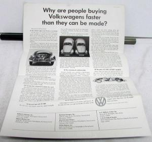 1959 Volkswagen Dealer Sales Brochure Folder Beetle Original VW US Market Orig