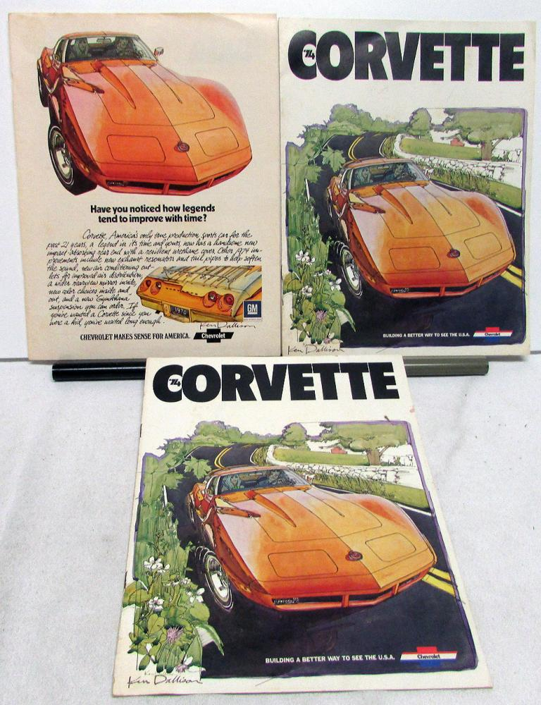 Pair 1974 Chevy Corvette Sales Brochures & Magazine Ad Signed By Ken Dallison