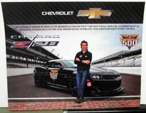 2014 Chevrolet Camaro Z28 Indianapolis 500 Pace Car Card Dario Franchitti