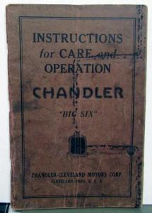 1926 1927 Chandler Big Six Owners Manual Care & Operation Instructions Original