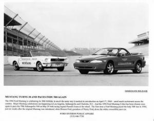 1994 Ford Mustang Cobra Convertible Indy 500 Pace Car Press Photo & Release 0125