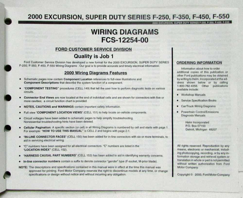 2000 Ford Excursion F 250 350 450 550 Superduty Electrical Wiring Diagram Manual