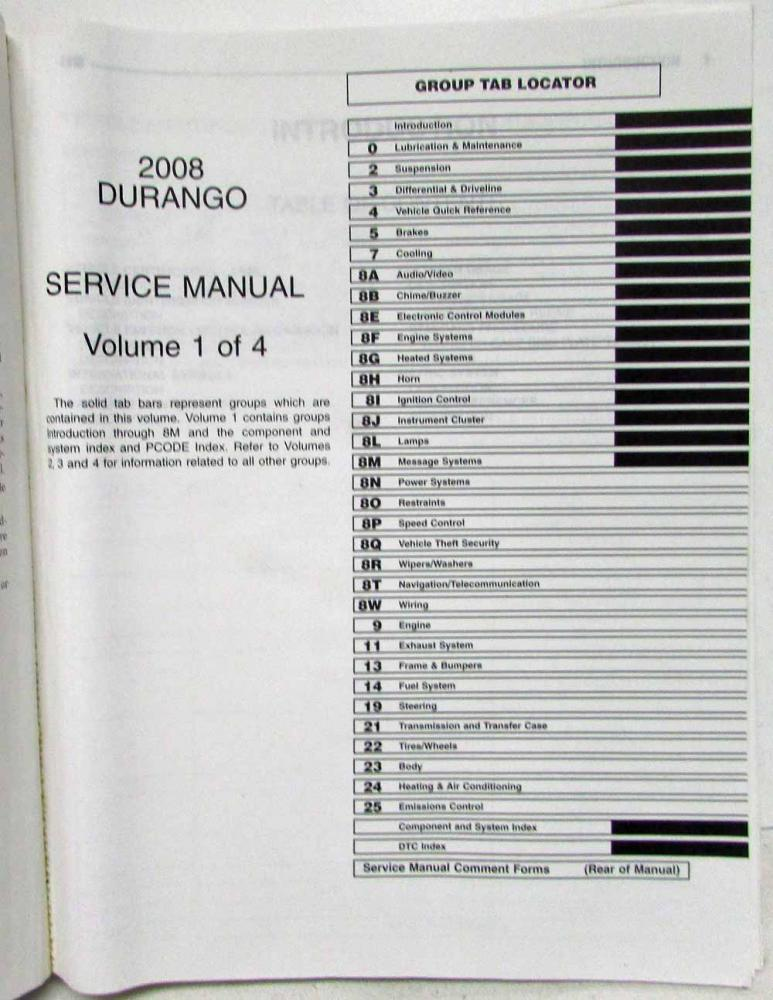 2008 Chrysler Aspen Dodge Durango Service Shop Repair Manual