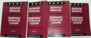 2003 Chrysler Sebring & Dodge Stratus Coupe Service Shop Repair Manual 4 Vol Set