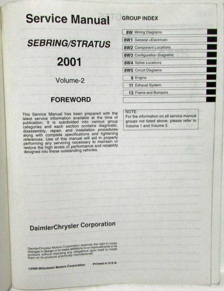 2001 chrysler sebring & dodge stratus coupe service manual 3 vol & body  repair