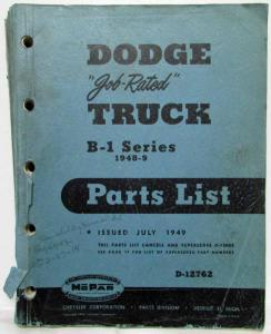 1948-1949 MOPAR Parts List for Dodge Trucks B-1 Series
