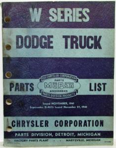 1941-1942 MOPAR Parts List for Dodge Trucks W-Series