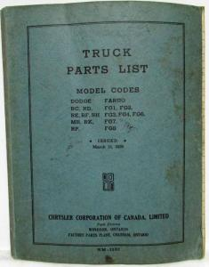 1939 Chrysler Parts List for Dodge and Fargo Trucks - Canadian