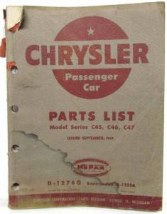 1949 Chrysler Passenger Cars Parts List Royal Saratoga New Yorker Imperial