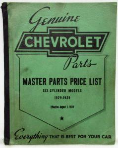 1929-1939 Chevrolet Cars & Trucks Master Parts List Catalog - 6 Cylinder Models