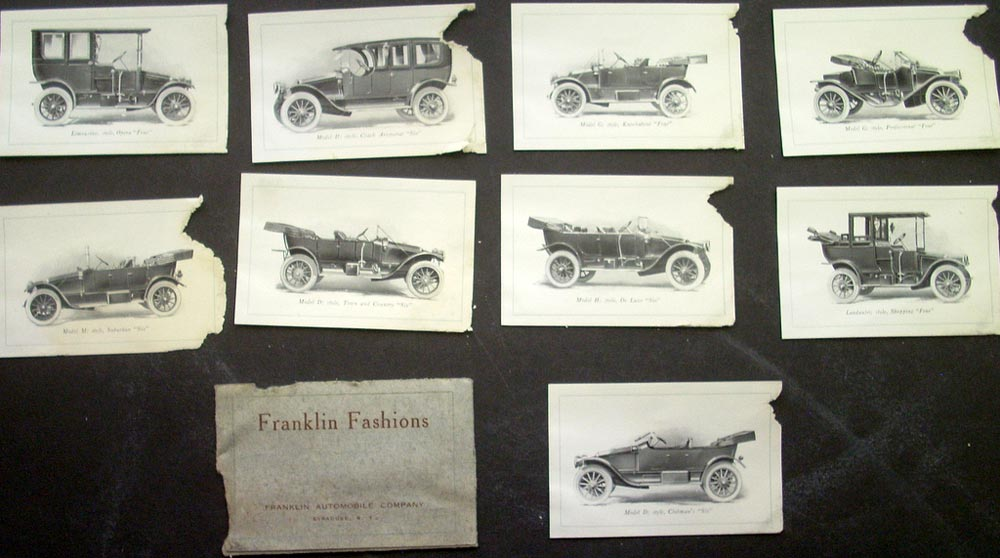 1912 Franklin Dealer Pocket Sales Plates Model M D H G Landaulet Limousine Rare