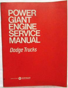 1968 Dodge Power Giant Engine Service Shop Repair Manual