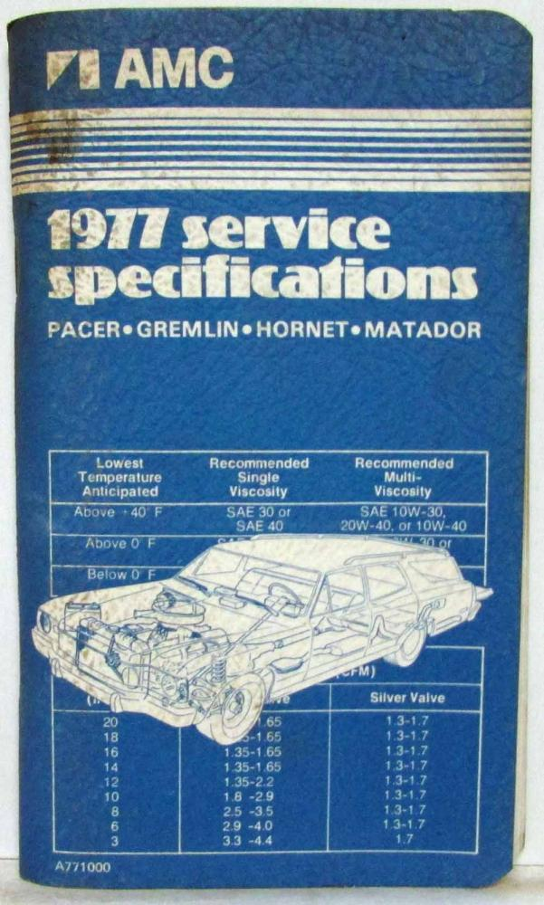 1977 AMC American Motors Pacer Gremlin Hornet Matador Specifications Handbook