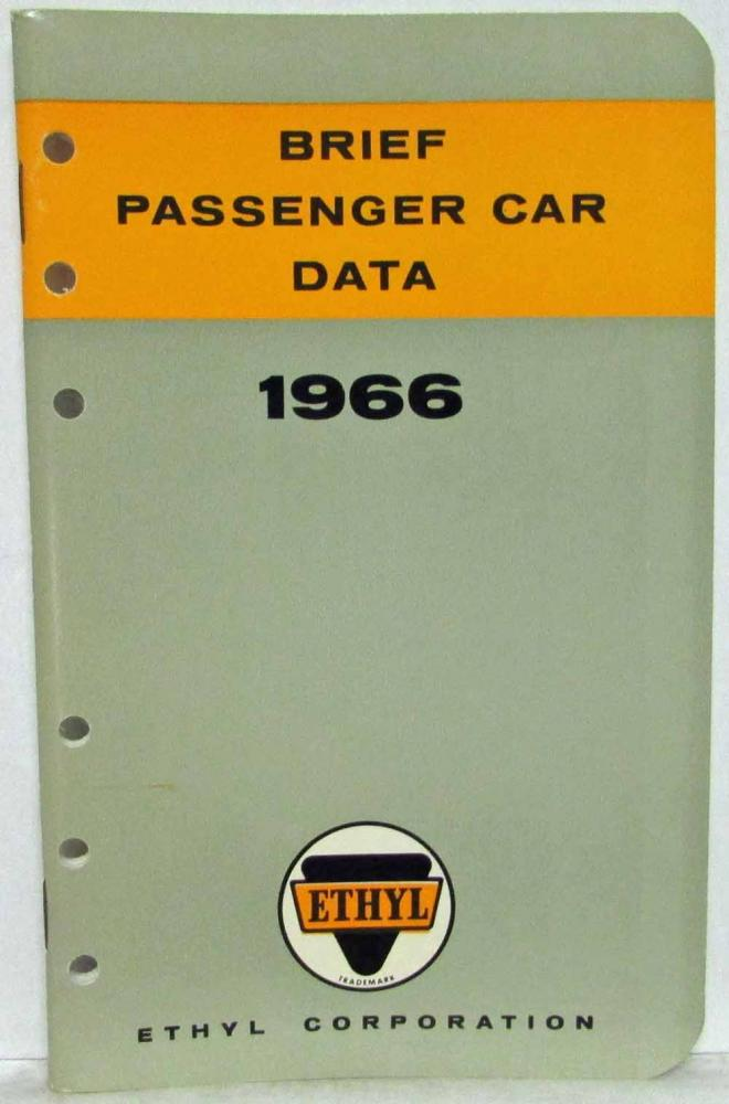 1966 Ethyl Corporation Brief Passenger Car Data Booklet Plymouth Pontiac Dodge