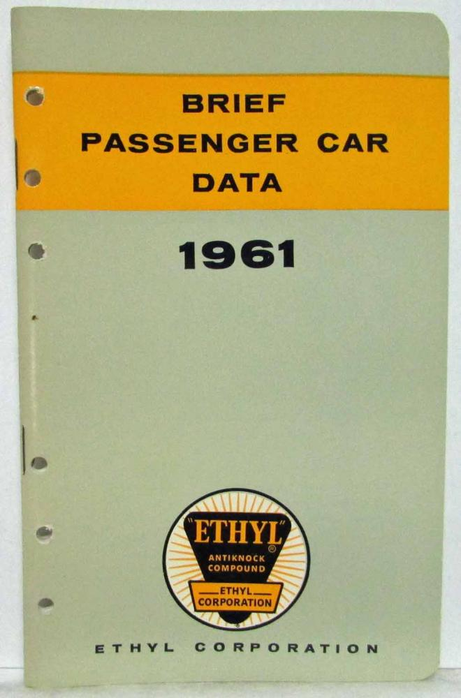 1961 Ethyl Corporation Brief Passenger Car Data Booklet Lincoln Imperial Olds