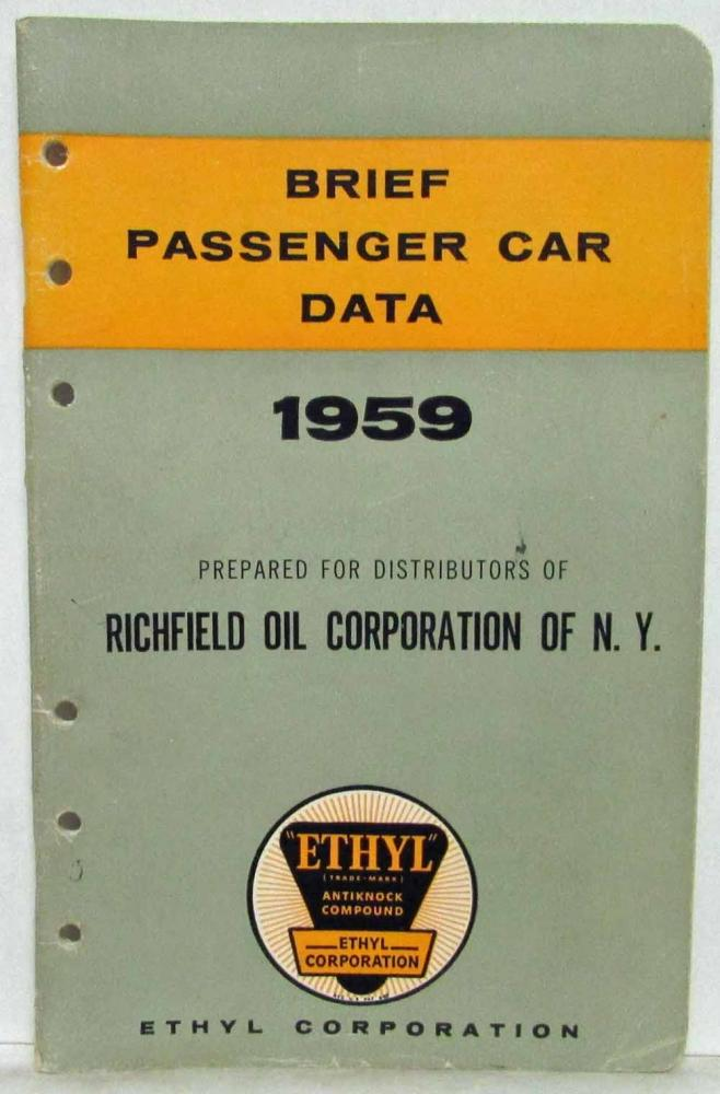 1959 Ethyl Corporation Brief Passenger Car Data Booklet Chevrolet DeSoto Edsel