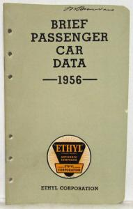 1956 Ethyl Corporation Brief Passenger Car Data Booklet Imperial Packard Rambler