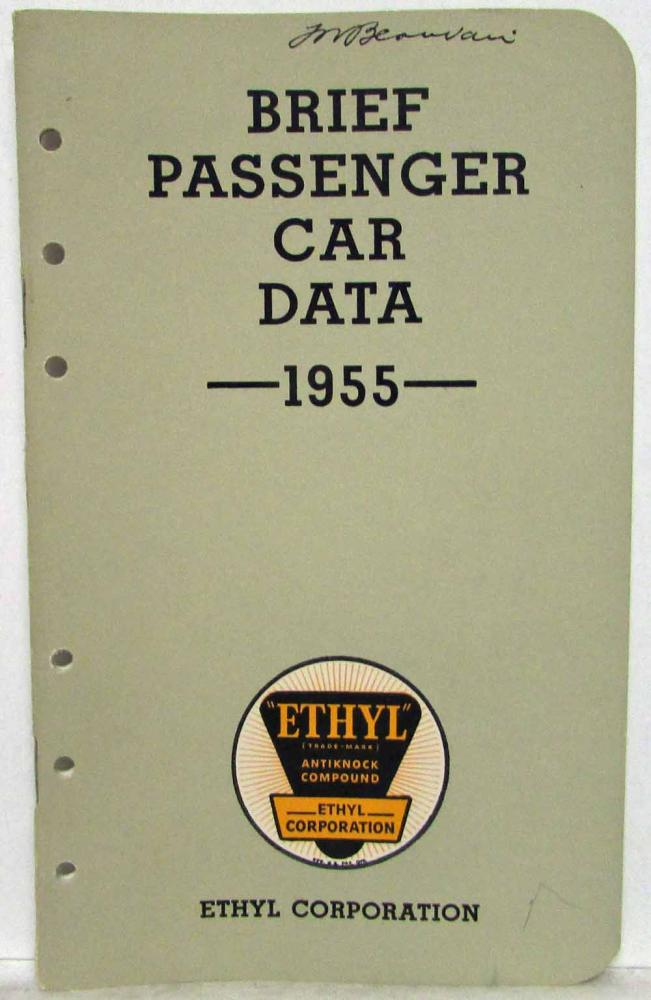 1955 Ethyl Corporation Brief Passenger Car Data Booklet Kaiser Nash Willys