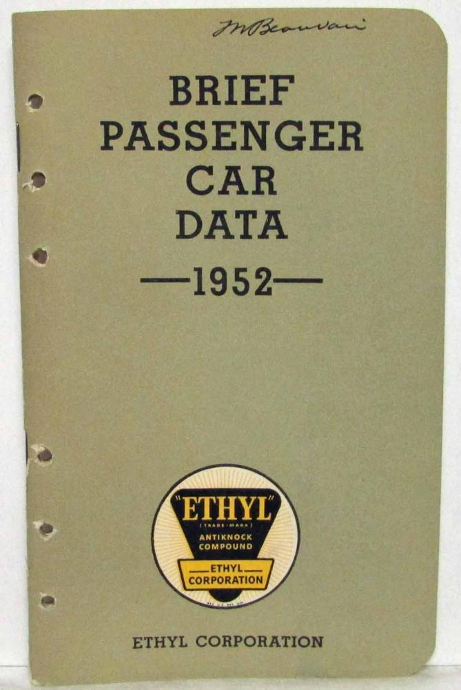 1952 Ethyl Corporation Brief Passenger Car Data Booklet Hudson Dodge Crosley