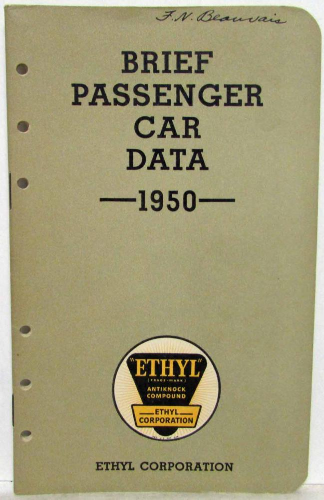 1950 Ethyl Corporation Brief Passenger Car Data Booklet Willys Packard Hudson