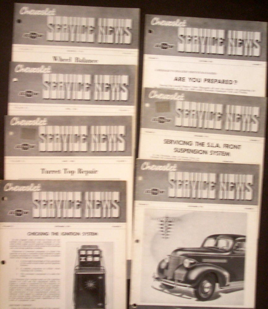 1938 Chevrolet Service News 7 Editions Tips Procedures 1939 Announcement Dealer