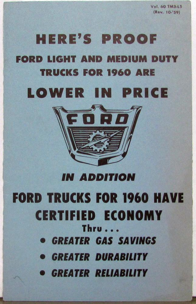 1960 Ford F Series Trucks Price Advantage Vs Chevy Dealer Only Item Original