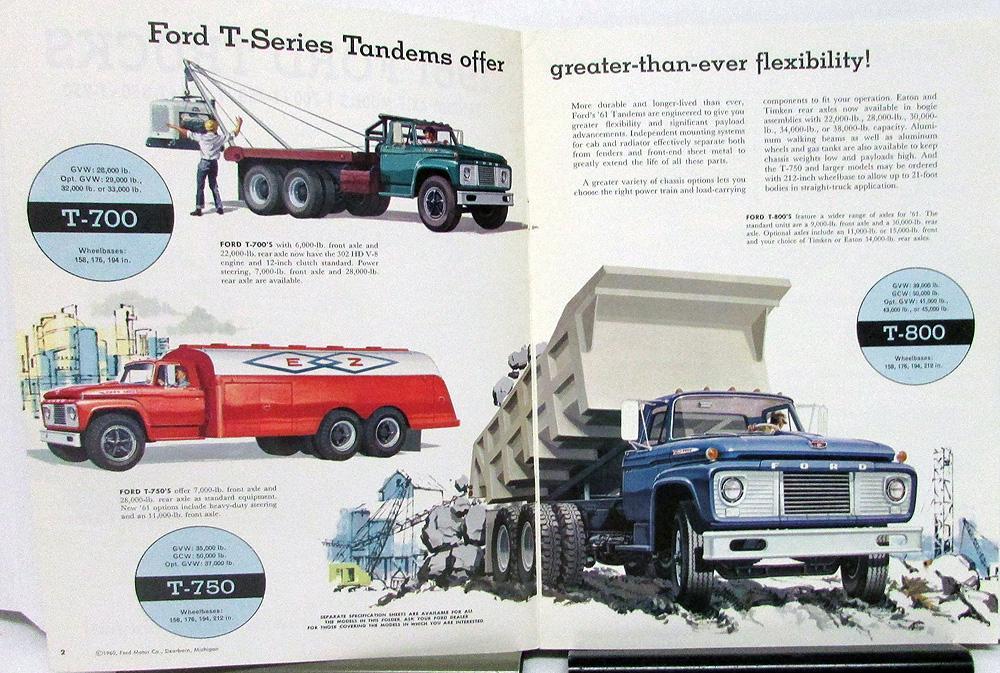 1961 Ford Tandem Axle Models T-700 T-750 T-800 T-850 T-950 Truck Sales Brochure
