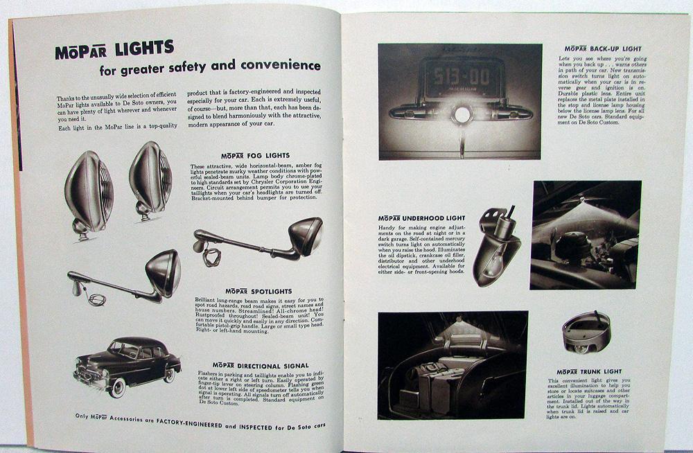 1949 DeSoto Dealer MoPar Accessories Sales Brochure Catalog