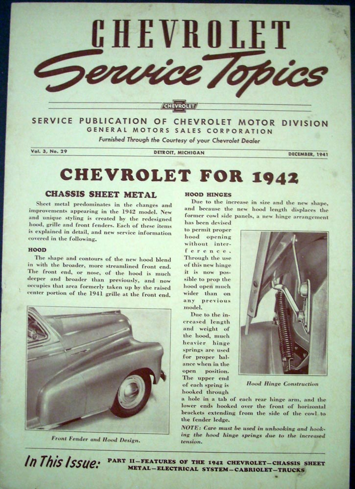 1941 Chevrolet Service Topics Volume 3 No 29 Shop Garage Repair 1942 Features 42