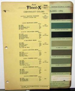 1942 Chevrolet Color Paint Chips Automotive Finishes Original Acme