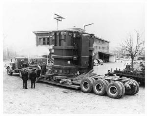 1940s-1950s Dual Tractors Pulling Load on Lowbed Trailer Press Photo 0003