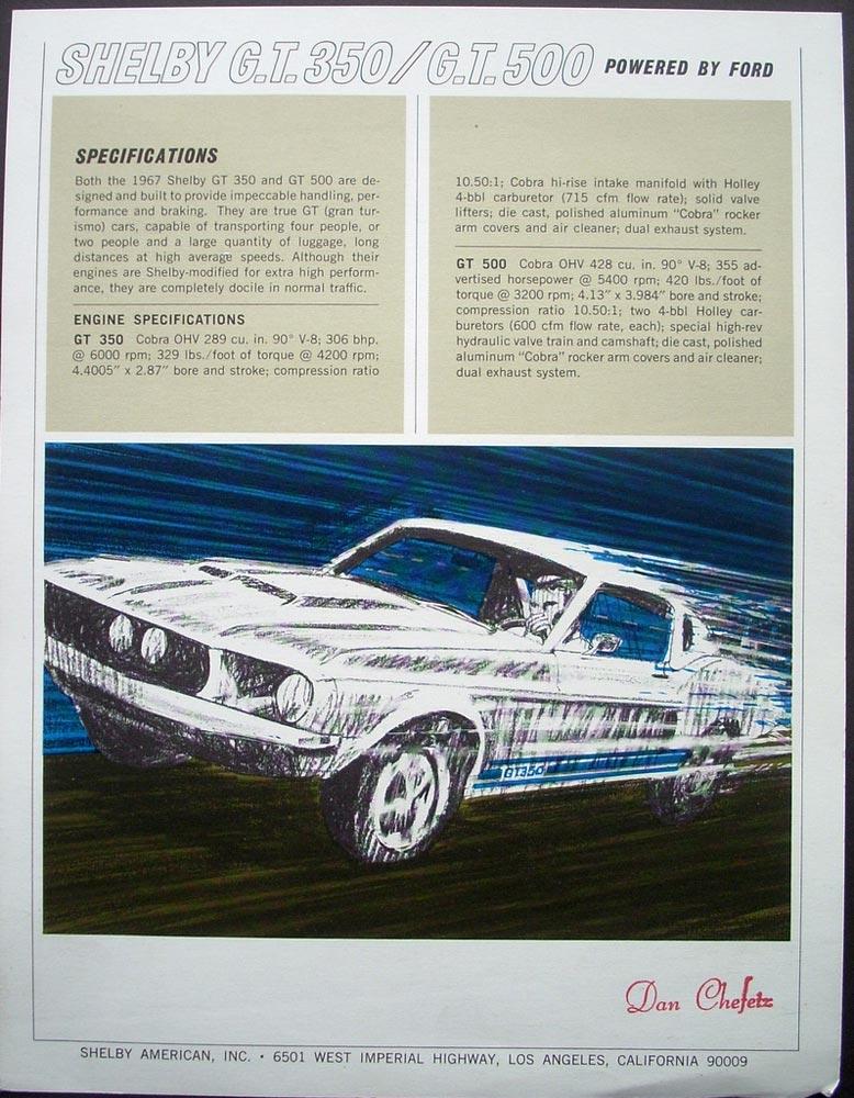 Original  Ford Mustang Shelby Gt   Sales Flyer Dan Chefetz Dealer
