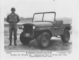 1954 Willys Aero Jeep with Soldier Press Photo 0005 - Aberdeen Proving Ground