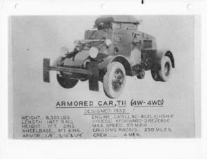 1932 FWD Military Armored Car TII 4W - 4WD Specs Photo 0004 - Cadillac Power