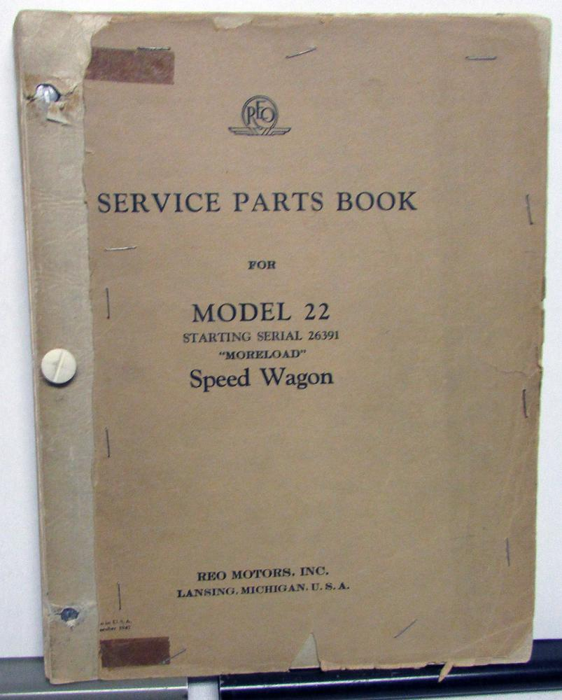 1946-47 REO Speed Wagon Trucks Dealer Model 22 Service Parts