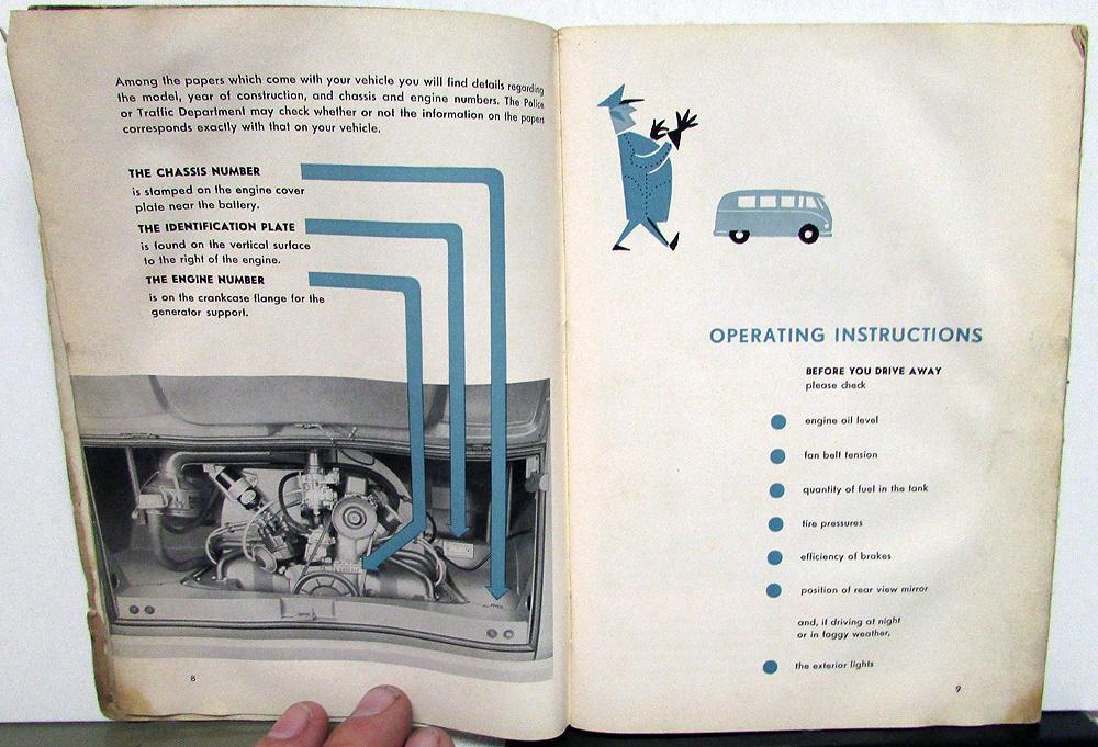 1962 Volkswagen VW Transporter Van Truck Owners Manual Care