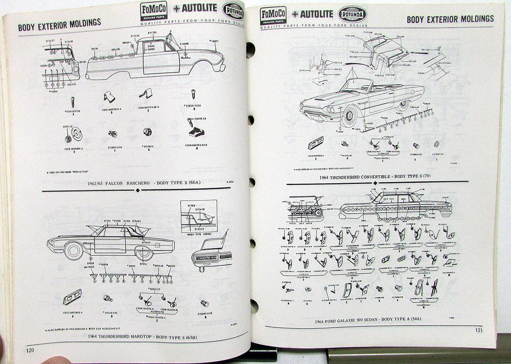 1963 1964 1965 1966 Ford Body Collision Parts Book T-Bird