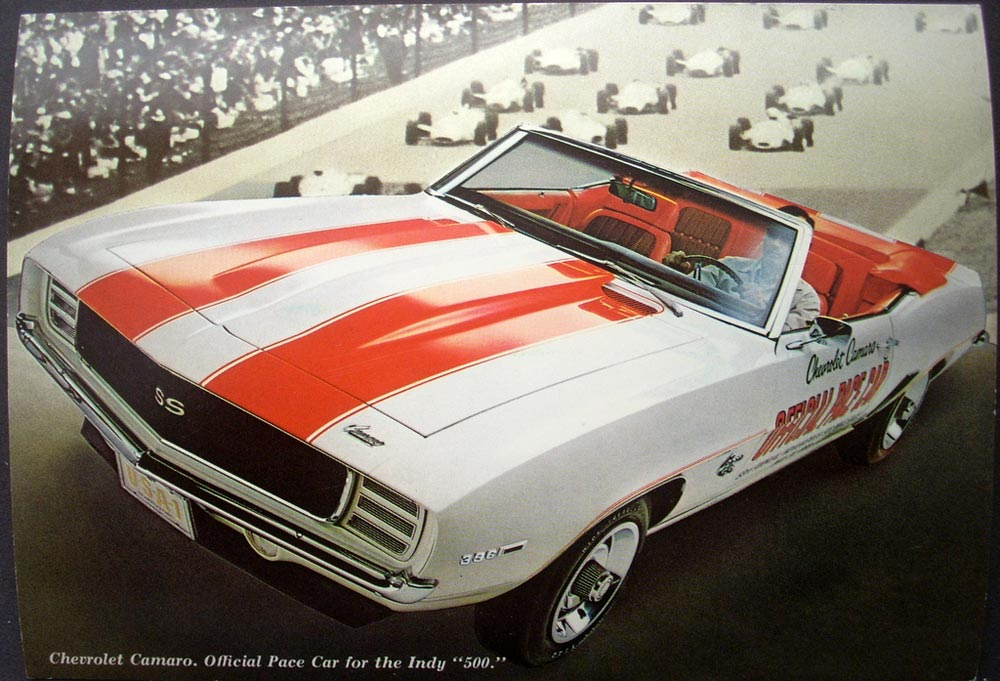 NOS 1969 Chevrolet Camaro SS Indy 500 Pace Car Dealer Postcard
