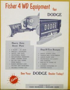 1950s Dodge Truck Snow Plow Step N Tow Bumper Fisher 4WD Equipment Sales Sheet