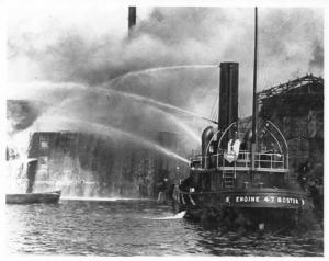 1940s Boston Fire Department Boat Engine No 47 Press Photo 0055