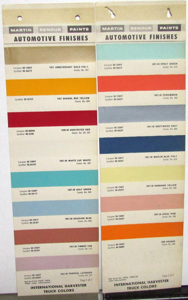 1957 1958 International Harvester Truck Paint Chip Color Leaflets Martin Senour