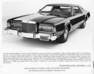 1973 Lincoln Continental Mark IV Press Photo with Text 0065